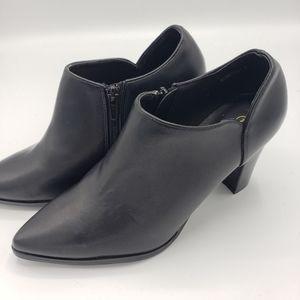 Allegra K side zip black high heel booties NWOT